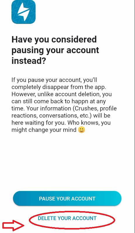 Click Delete Your Account