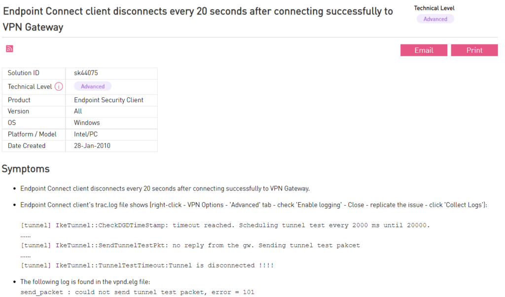 Check Point VPN keeps disconnecting